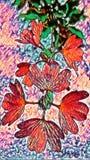 Abstrakcjonistyczny obraz pomarańcze kwiaty i zieleń liście - tło wizerunek ilustracji