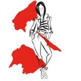Abstrakcjonistyczny obraz z kobietą w ślicznej kurtce i spodniach ilustracji