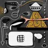 Abstrakcjonistyczny obrazek z geometrycznymi kształtami, ręką, talerzami z owsianką i strzała, ilustracja wektor
