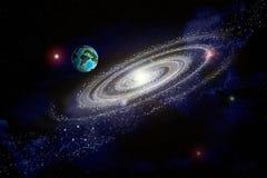 Abstrakcjonistyczny obrazkowy wizerunek planety ziemia w otwartej przestrzeni pośrodku ilustracja wektor