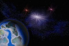 Abstrakcjonistyczny obrazkowy wizerunek planety ziemia w otwartej przestrzeni pośrodku ilustracji