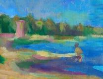 Abstrakcjonistyczny obrazu olejnego krajobrazu tło Obraz olejny morze, abstrakt tekstury nafciany tło Zdjęcia Stock