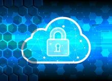 Abstrakcjonistyczny ochrony chmury technologii tło, kluczowy kędziorek Obrazy Stock