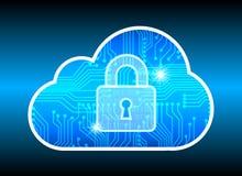 Abstrakcjonistyczny ochrony chmury technologii tło, kluczowy kędziorek i coul, Zdjęcie Stock