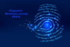 Abstrakcjonistyczny odcisk palca z punktami, wykłada i kształtuje w formularzowym wireframe, Zdjęcia Stock