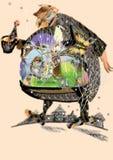 Abstrakcjonistyczny ogromny gruby mężczyzna z kwiat tekstury odprowadzeniem ilustracji