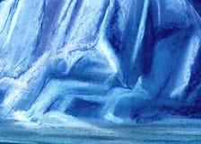 Abstrakcjonistyczny ogromny lodowy tekstury tło Malujący z pastelem na papierowej ilustracji ilustracja wektor