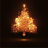 Abstrakcjonistyczny okamgnienie i Rozjarzony Jedlinowy drzewo na Ciemnego Brown tła sztandaru szablonie Zdjęcie Royalty Free