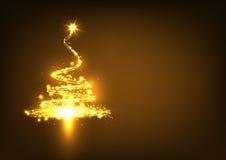 Abstrakcjonistyczny okamgnienie i Złoty Rozjarzony Jedlinowy drzewo na Ciemnym Brown Zdjęcie Stock