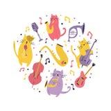Abstrakcjonistyczny okręgu projekt z śmiesznymi kotami royalty ilustracja