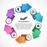 Abstrakcjonistyczny opci infographics szablon z strzała w okręgu Infographics dla biznesowych prezentacj lub ewidencyjnego sztand Obrazy Royalty Free