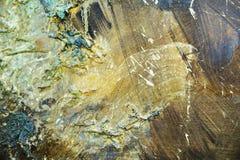Abstrakcjonistyczny organicznie złocisty farby zieleni ciemnego brązu biały hipnotyczny tło Fotografia Royalty Free