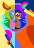 Abstrakcjonistyczny oryginał małpy rysunek w mieszkanie stylu i ilustracji