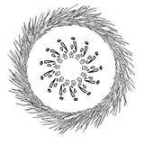 Abstrakcjonistyczny płatek śniegu geometryczni kształty i sosna wianek Boże Narodzenia nowego roku karty zdjęcia stock