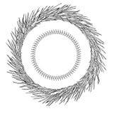 Abstrakcjonistyczny płatek śniegu geometryczni kształty i sosna wianek Boże Narodzenia nowego roku karty zdjęcie stock