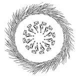 Abstrakcjonistyczny płatek śniegu geometryczni kształty i sosna wianek Boże Narodzenia nowego roku karty obrazy stock