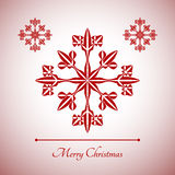 Abstrakcjonistyczny płatek śniegu z Wesoło bożych narodzeń znakiem Fotografia Royalty Free