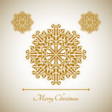 Abstrakcjonistyczny płatek śniegu z Wesoło bożych narodzeń znakiem Zdjęcie Royalty Free