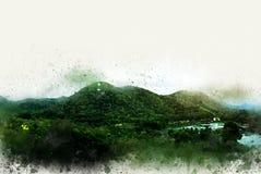 Abstrakcjonistyczny piękny drzewo i krajobraz na kolorowej akwareli ilustracji