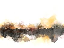 Abstrakcjonistyczny piękny drzewo i pole na kolorowym akwarela obrazu tle ilustracji