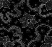 Abstrakcjonistyczny piękny wektorowy bezszwowy wzór z kwitnienie kwiatami i obliczającymi kształtami Niekończący się tekstura ilustracja wektor