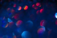 Abstrakcjonistyczny plamy światła bokeh, błękit i czerwień, Obrazy Stock