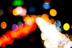 Abstrakcjonistyczny plamy bokeh zaświeca na mieście noc fotografia stock