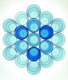 Abstrakcjonistyczny plastikowy szkła mieszkanie kłaść z błękitną paletą Obraz Royalty Free