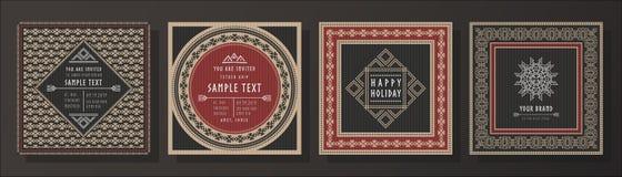 Abstrakcjonistyczny plemienny wektorowy zaproszenie szablonu set Obrazy Royalty Free