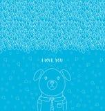Abstrakcjonistyczny pociągany ręcznie wzór ja literowanie miłość ty Śmieszny pies jest ubranym krawat i koszula ilustracja wektor