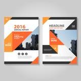 Abstrakcjonistyczny pomarańczowy czarny sprawozdanie roczne ulotki broszurki ulotki szablonu projekt, książkowej pokrywy układu p ilustracji