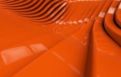 Abstrakcjonistyczny pomarańczowy glansowany metalu tło Obrazy Royalty Free
