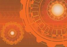 Abstrakcjonistyczny pomarańczowy technologii cyfrowej tło z przekładniami Zdjęcie Royalty Free