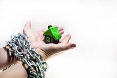 Abstrakcjonistyczny pomysł własność i kredyty Problemy z własnością, dom, pieniądze obraz stock