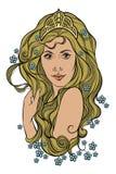 Abstrakcjonistyczny portret dziewczyna z kwiatami Obraz Stock