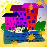 Abstrakcjonistyczny prosty wizerunek Słoneczny dzień, domy blisko rezerwuaru, rośliny royalty ilustracja