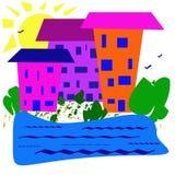 Abstrakcjonistyczny prosty wizerunek Słoneczny dzień, domy blisko rezerwuaru ilustracji