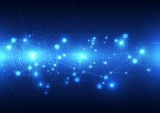Abstrakcjonistyczny przyszłościowy technologii telecoms tło, wektorowa ilustracja ilustracji