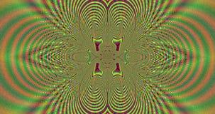 Abstrakcjonistyczny pulsujący wysoce psychodelicznego kolorowego fractal wideo z szczegółowi łączący łuki i pierścionki przychodz ilustracja wektor