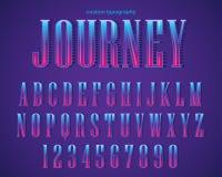 Abstrakcjonistyczny Purpurowy Gradientowy Retro Kolorowy typografia projekt ilustracji