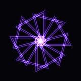Abstrakcjonistyczny purpurowy neonowy kształt, futurystyczny falisty fractal gwiazda Fotografia Royalty Free