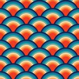 Abstrakcjonistyczny Retro Bezszwowy Backround macha pomarańczowego błękitnego rocznika Bezszwowego Deseniowego Wielostrzałowego w ilustracji