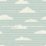 Abstrakcjonistyczny retro pasiasty tło z chmurami Ilustracja Wektor