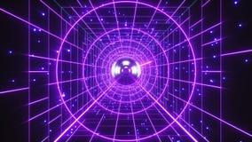 Abstrakcjonistyczny Retro Poligonalny Laserowy Tunelowy lota tło ilustracja wektor