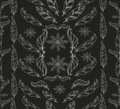 Abstrakcjonistyczny rocznika piórko i kwiecisty wzór Zdjęcia Royalty Free