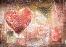 Abstrakcjonistyczny rocznika tło z grunge teksturą Kredkowy serce ilustracja wektor