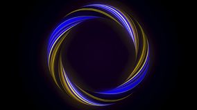 Abstrakcjonistyczny rozjarzony pierścionek od pokrętnego włókna z mruganie kolorami odizolowywającymi na czarnym tle animacja Ol? ilustracji