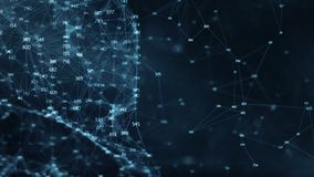 Abstrakcjonistyczny ruchu tło - cyfrowe przypadkowe cyfry plexus sieci przesyłania danych ilustracja wektor