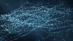 Abstrakcjonistyczny ruchu tło - cyfrowe przypadkowe cyfry plexus sieci przesyłania danych royalty ilustracja