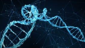 Abstrakcjonistyczny ruchu tło - Cyfrowego Plexus DNA molekuły 4k Binarna pętla royalty ilustracja